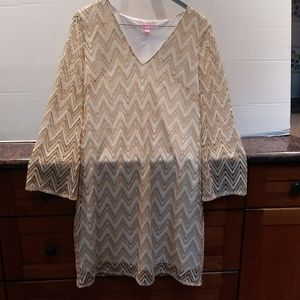 Lilly Pulitzer Gold Chevron Bell Sleeved Dress.